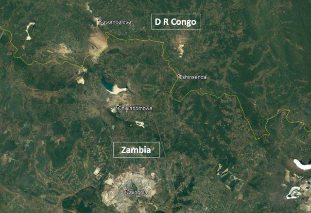 Zambia DR Congo Map
